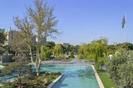 view of pool and Azerbaijan flag at park Bulver Baku