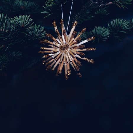 christmas tree decor with dark background and space for text