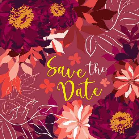 square save the date card template with traced and hand drawn peonies and leaves