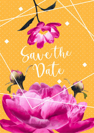 bright pink peonies decorating save the date card with warm yellow and white dots on background Ilustração