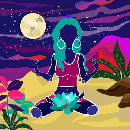 abstract illustration of woman sititng in lotus pose on sand at night time meditating Illustration