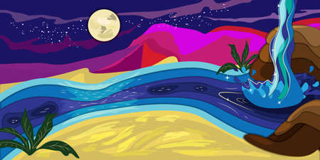 vector abtract landscape of small with river and waterfall in desert at night time and pink unreal hills