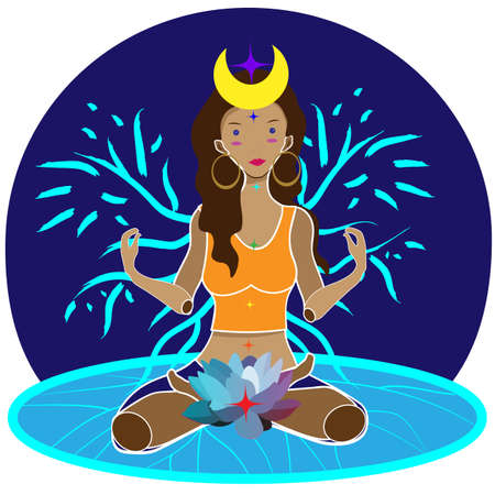 illustration of woman sitting with lotus flower at the root chakra and abstract wings symbolizing awakening of womens energy and her balance with her nature