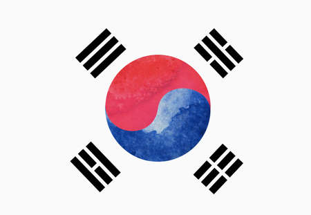 watercolor image of South Korea flag on white background Stok Fotoğraf