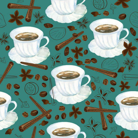 vector seamless pattern with watercolor cup of coffee and variety of spices
