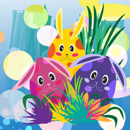 colorful and cute spotted  bunnies in grass with abstract background Иллюстрация