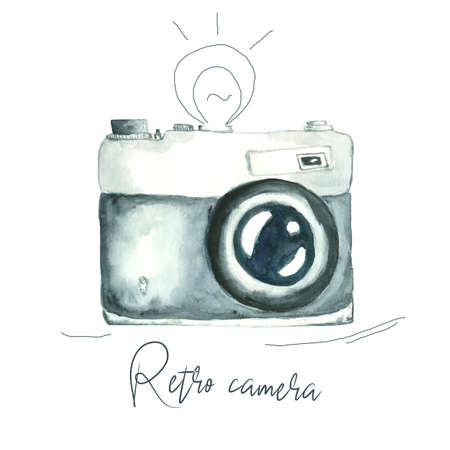watercolor image of retro camera isolated on white background with hand drawn antique flash and sign