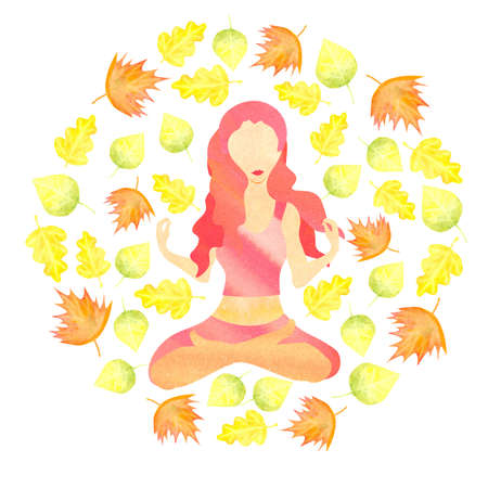 beautiful watercolor image of woman sitting in lotus pose with autumn leaves flying around forming a circle