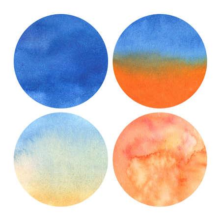 set van 4 aquarelcirkels met tinten van diepblauw tot lichtoranje