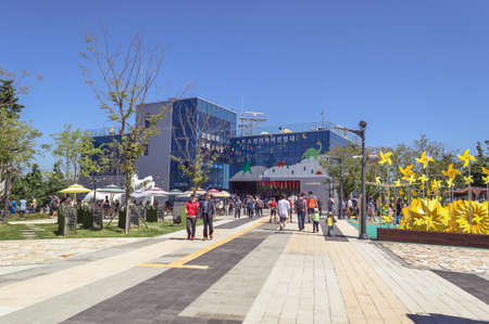 Busan, South Korea, September 14, 2019: people enjoying Songdo sky park attractions in Amnam park