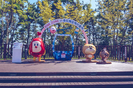 Busan, South Korea, September 14, 2019:  Photo zone in Songdo sky park with cute mascots and cable car imitation 報道画像