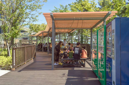 Busan, South Korea, September 14, 2019: resting and dining place for visitors ofSongdo sky park