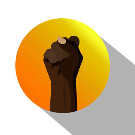 vector icon of fist of black human inside circle with shadow