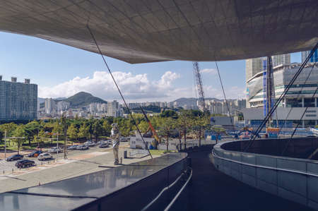 Busan, South Korea September 15, 2019: framed by Busan cinema centre cityscape view on sunny day