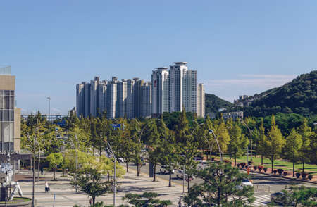 Busan, South Korea September 15, 2019: Cityscape of modern buildings roads and hills