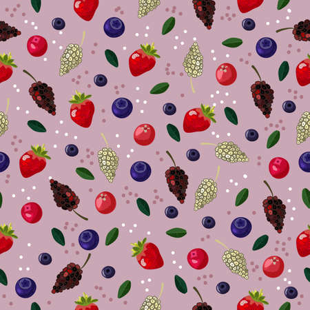 vector seamless berries pattern with colored background and dot decor
