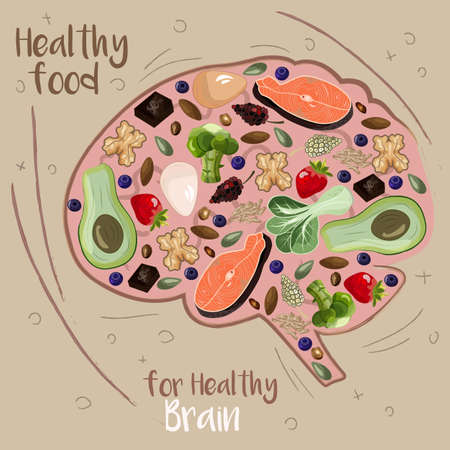 vector illustration of abstract brain filled with food good for it's health