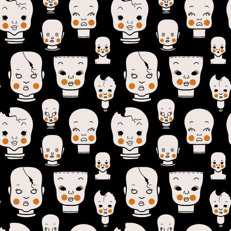 Creepy Vintage Dolls Pattern Illustration