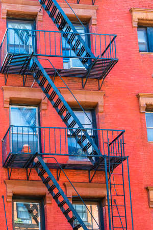 New York City East village building details with fire escapes. Background texture pattern of buildings. 写真素材