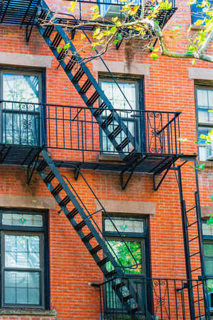 New York City East village building details with fire escapes. Background texture pattern of Buildings 写真素材