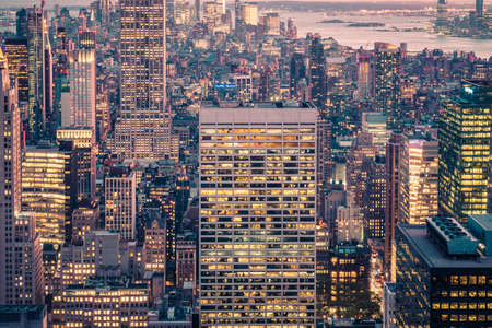 USA, New York City, Manhattan, Elevated View Of Mid-Town Manhattan at Night.