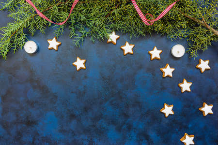 Stylish Christmas composition, coniferous tree and cookies on bleu vintage stone background. Top view, copy space for text. 写真素材
