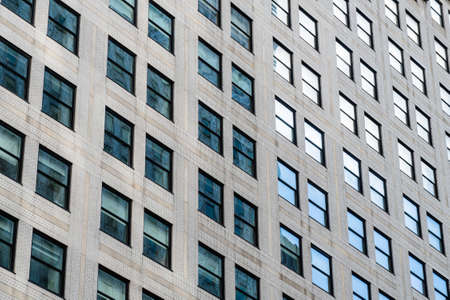 Street view over building facade with lines and windows. Graphic pattern architecture, urban concept, Manhattan, New York., USA 写真素材