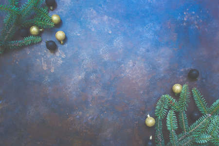 Abstract dark blue texture background. Christmas composition. 写真素材