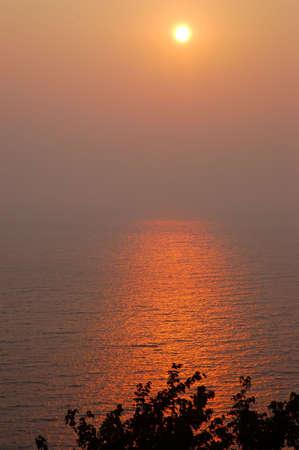 Hazy September Sunset Sky Over Lake Michigan USA
