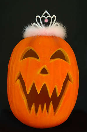Halloween Carved Pumpkin with Princess Queen Tiara