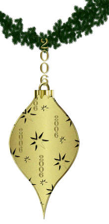Gold 2006 Christmas ornament hanging on green pine garland.  Art illustration isolated on white.