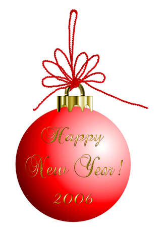 illustration red bauble with gold text saying happy new year 2006 art illustration isolated on white