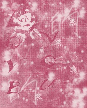Love You Pink Grunge Background