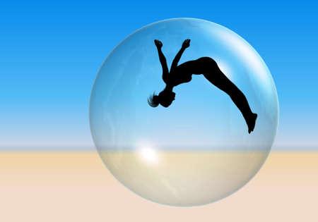 Beach Ball- Silhouette of an acrobatic woman seen through a beach  ball on the sand.