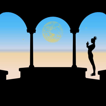 Silhouette of a woman meditating on the beach with stars and a large planet in the distant skies.  Viewed through the silhouetted arches of a gazebo with the ocean in the distance.