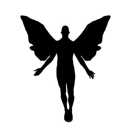 天に向かって浮動男性天使のシルエット。 写真素材