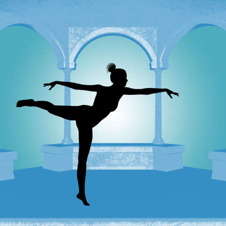 Dancing ballet in a gazebo.  Silhouette and design created by me. Imagens