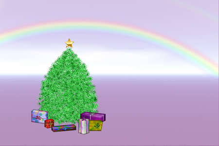 Rainbow Christmas - Illustration of a Christmas tree, and wrapped gifts under a rainbow.