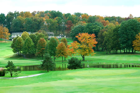 The beauty of a golf course in autumn.