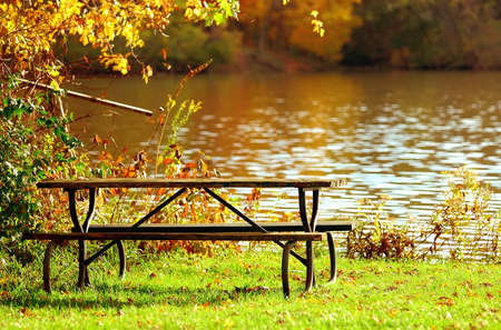 Picnic on the Water - A picnic table sits on the bank of a muddy river in autumn.