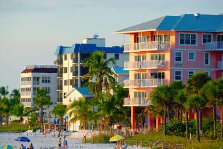 Condos on the beach, Gulf of Mexico, Florida USA.