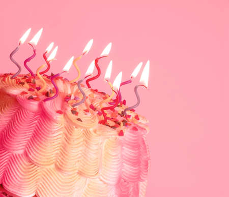 Birthday Cake - A birthday cake with swirly lighted candles on top.