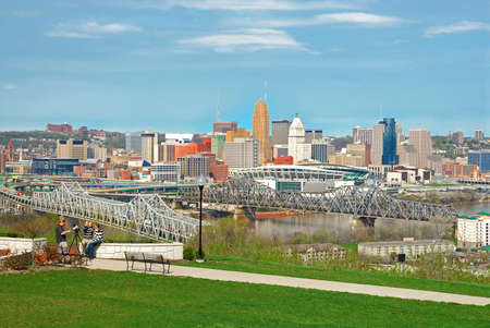 Aerial view of Downtown Cincinnati and the bridges crossing the Ohio River from Kentucky to Ohio.   Photographed from Devou Park, which has a commanding view of downtown Covington, Kentucky and Cincinnati, Ohio.