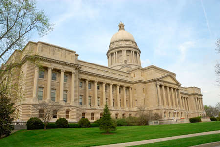 Kentucky State Capitol Building in Frankfort, Kentucky, USA. Dedicated in 1910 and built at a cost of $1,820,000, the capitol building is designed in the Beaux Arts style. The exterior displays an elaborate terrace on a Vermont granite base and a facade f