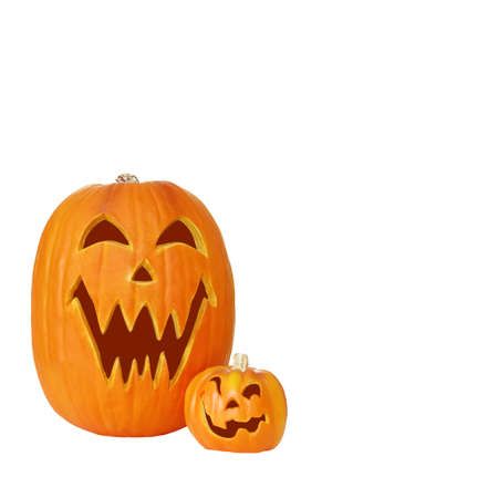 Carved jack o lantern pumpkins isolated on white with space for copy.