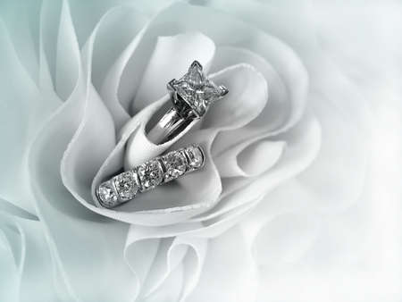 Beautiful diamond wedding ring set displayed in the folds of the fabric of a wedding gown. Space for copy.          Imagens