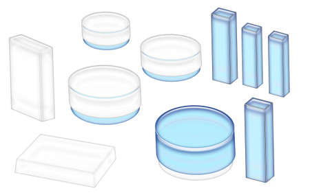 3D Illustration of blue an white cosmetics jars and boxes ready for your label isolated on a white background.