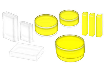 3D Illustration of yellow and white cosmetics jars and boxes ready for your label isolated on a white background. Stok Fotoğraf