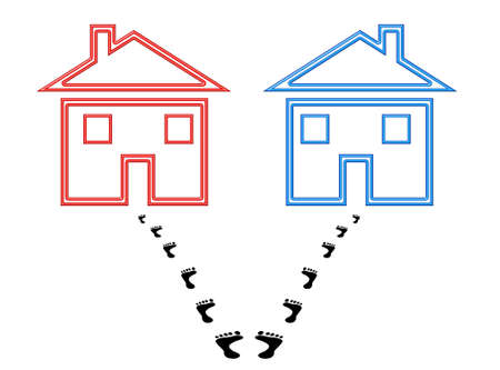Two houses with footprints starting out together and ending split up, conceptual image signifying confusion, uncertainty, indecision. Фото со стока