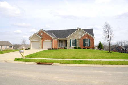 Suburban Neighborhood Brick Home - a spring day in the burbs.